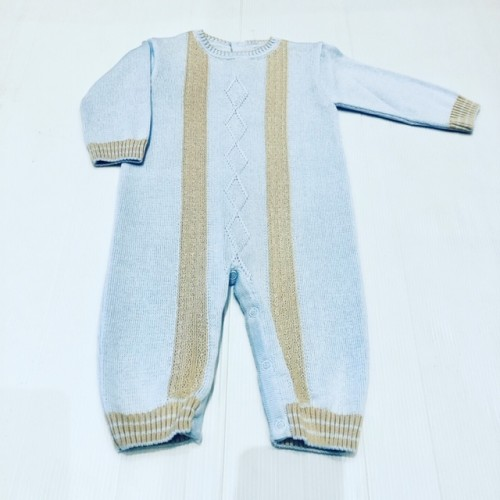 Boys Blue/Beige Knitted All In One